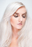 Attractive blond woman with leopard makeup Royalty Free Stock Images
