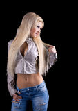 Attractive blond woman with long hair Stock Photo