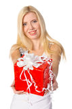 Attractive blond woman with nice gift Royalty Free Stock Image