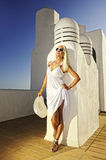 Attractive blond woman outdoors Royalty Free Stock Image