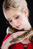 Attractive blond woman with python on black Royalty Free Stock Photos