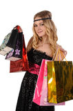 Attractive blond woman with shopping bags Royalty Free Stock Images