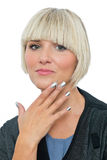 Attractive blond woman with silver fingernails Royalty Free Stock Photo