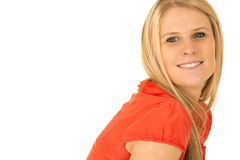 Attractive blond woman smiling with extra white ba Royalty Free Stock Photo