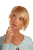Attractive blond woman, thinking face Royalty Free Stock Photos