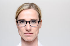 Attractive blond woman wearing glasses Stock Photography