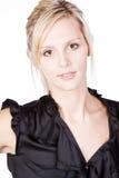 Attractive Blonde in Black Top Stock Photo