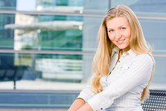 Attractive blonde business woman Stock Images