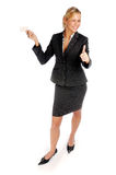 Attractive blonde businesswoman in black suit Royalty Free Stock Photography