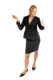 Attractive blonde businesswoman in black suit Stock Photos