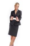 Attractive blonde businesswoman in black suit Royalty Free Stock Images