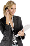 Attractive blonde businesswoman with mobile phone Stock Photos