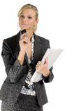 Attractive blonde businesswoman with mobile phone Royalty Free Stock Image