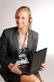 Attractive blonde businesswoman notebook Royalty Free Stock Photography