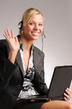 Attractive blonde businesswoman with notebook Stock Images