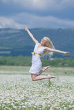 Attractive blonde in chamomile field Stock Images
