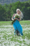 Attractive blonde in chamomile field Stock Photography