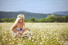 Attractive blonde in chamomile field. Young woman in wreath Stock Photos