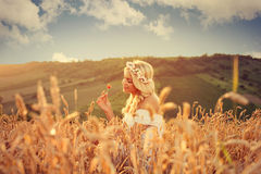 Attractive blonde enjoying the nature Stock Photography