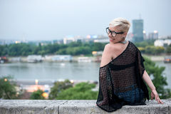 Attractive blonde on the fortress wall Stock Images