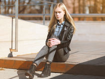 Attractive blonde girl with beautiful long hair Stock Photos