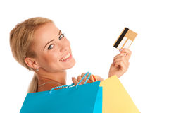 Attractive blonde girl with colorful shopping bags Stock Photo