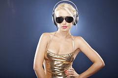 Attractive blonde girl with headphones Stock Photo