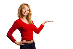 Attractive blonde girl presenting something Stock Photos