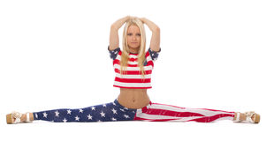 Attractive blonde girl in USA clothes Royalty Free Stock Image