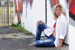 Attractive Blonde with Graffiti (13) Stock Photography