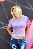 Attractive Blonde with Graffiti (5) Royalty Free Stock Images