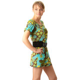 Attractive blonde in green summer dress Royalty Free Stock Photos