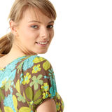 Attractive blonde in green summer dress Royalty Free Stock Images