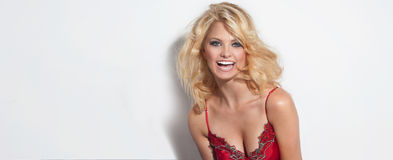 Attractive blonde happy woman Royalty Free Stock Photos