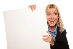 Attractive Blonde Holding Blank White Sign Royalty Free Stock Photo