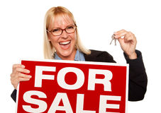 Attractive Blonde Holding Keys & For Sale Sign royalty free stock photos