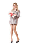 Attractive blonde holding teddy bear Stock Photo