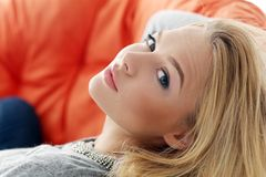 Attractive blonde at home Royalty Free Stock Image