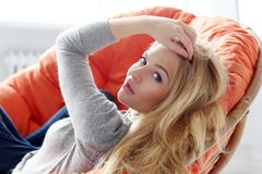 Attractive blonde at home Stock Photography