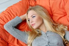 Attractive blonde at home Royalty Free Stock Images