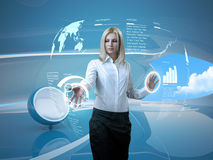Attractive Blonde Interface Futuristic Interior Stock Photo