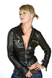 Attractive Blonde in Leather Jacket Royalty Free Stock Image