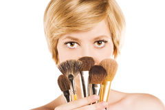 Attractive blonde makeup concept Royalty Free Stock Photography