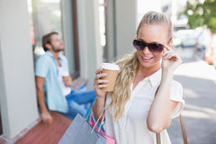 Attractive blonde on a shopping trip Stock Photo