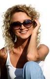 Attractive blonde smiling woman portrait Stock Photo
