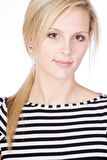Attractive Blonde in Striped Top Stock Photos