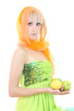 Attractive blonde with two apples and lemon Royalty Free Stock Photos