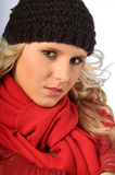 Attractive Blonde in Winter Clothes Royalty Free Stock Images