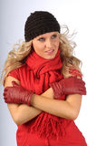 Attractive Blonde in Winter Clothes Royalty Free Stock Photo