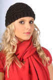 Attractive Blonde in Winter Clothes Royalty Free Stock Photos